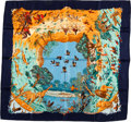 "Luxury Accessories:Accessories, Hermes Navy, Orange & Green ""Africa,"" by Robert Dallet Silk Scarf. ..."
