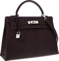 Luxury Accessories:Bags, Hermes 32cm Cocoan Chevre Leather Sellier Kelly Bag with Palladium Hardware. ...