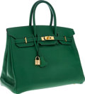 Luxury Accessories:Bags, Hermes 35cm Vert Clair Epsom Leather Birkin Bag with Gold Hardware....