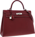 Luxury Accessories:Bags, Hermes 35cm Rouge H Chamonix Leather Sellier Kelly Bag withPalladium Hardware. ...