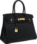 Luxury Accessories:Bags, Hermes 30cm Black Chevre Leather Birkin Bag with Gold Hardware. ...