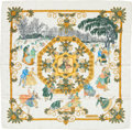"Luxury Accessories:Accessories, Hermes Green, White & Gold ""Joies d'Hiver,"" by Joachim MetzSilk Jaquard Scarf. Excellent Condition. 36"" Width..."