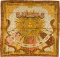 "Luxury Accessories:Accessories, Hermes Gold & Rose ""Carpe Diem,"" by Joachim Metz Silk Scarf...."