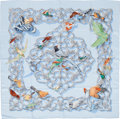 "Luxury Accessories:Accessories, Hermes Light Blue & Silver ""Oiseaux de L'Inde et deL'Himalaya,"" by Catherine Baschet Silk Scarf. ..."