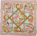 """Luxury Accessories:Accessories, Hermes Pink, Gold & White """"Caraibes,"""" by Christiane Vauzelles Silk Scarf. ..."""