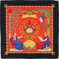 "Luxury Accessories:Accessories, Hermes Red, Black & Gold ""1789 Liberte Egalite Fraternite,"" byJoachim Metz Silk Scarf. ..."