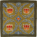 "Luxury Accessories:Accessories, Hermes Olive, Orange & Red ""Carrosses d'Or,"" by VladimirRybaltchenko Silk Scarf. ..."