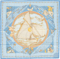 "Luxury Accessories:Accessories, Hermes Light Blue & Peach ""Voyage Au Long Cours,"" by DominikJarlegant Silk Scarf. ..."