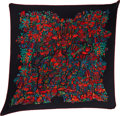 "Luxury Accessories:Accessories, Hermes Black & Red ""Legende Moghole,"" by Karen Petrossian Silk Plisse Scarf. ..."