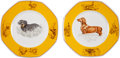 Hermes Set of Two; Porcelain Dog Plates
