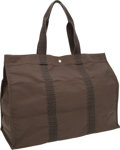 Luxury Accessories:Travel/Trunks, Hermes Gray & Black Canvas Oversize Travel Tote Bag. ...