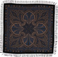 Luxury Accessories:Accessories, Loro Piana Black & Blue Cashmere Paisley Shawl. ...