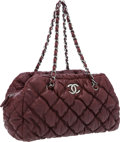 Luxury Accessories:Bags, Chanel Burgundy Quilted Leather Bubble Bowling Bag. ...