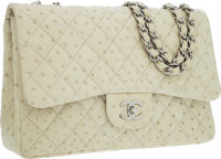 Chanel Bone Quilted Ostrich Maxi Classic Single Flap Bag with Silver Hardware