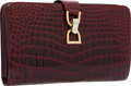 Luxury Accessories:Bags, Gucci 1960's Shiny Bordeaux Crocodile Clutch Bag with ShoulderStrap. ...