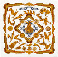 "Luxury Accessories:Accessories, Hermes White & Gold ""Les Parures du Vent,"" by Joachim Metz Silk Scarf. ..."