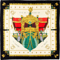 "Luxury Accessories:Accessories, Hermes Black, Gold & Red ""Vue du Carrosse de la Galere laReale,"" by Hugo Grygkar Silk Scarf. ..."