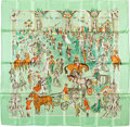 "Luxury Accessories:Accessories, Hermes Mint Green , Yellow & Orange ""Soiree de Gala,"" byJean-Louis Clerc Silk Scarf. ..."