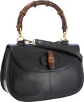 Luxury Accessories:Bags, Gucci Black Lizard Classic Bamboo Top Handle Bag with ShoulderStrap. ...