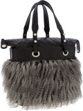Luxury Accessories:Bags, Chanel Fur & Black Leather Paris-Biarritz Tote Bag. ...