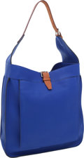 Luxury Accessories:Bags, Hermes Blue Electric Clemence Leather & Vache Naturelle MarwariGM Bag with Palladium Hardware. ...