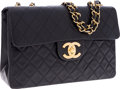 Luxury Accessories:Bags, Chanel Navy Lambskin Leather Maxi Single Flap Bag with GoldHardware. ...