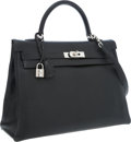 Luxury Accessories:Bags, Hermes 35cm Black Chevre Leather Retourne Kelly Bag with PalladiumHardware. ...