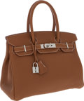 Luxury Accessories:Bags, Hermes 30cm Gold Togo Leather Birkin Bag with Palladium Hardware....