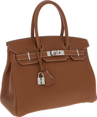 Hermes 30cm Gold Togo Leather Birkin Bag with Palladium Hardware