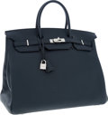 Luxury Accessories:Bags, Hermes 40cm Blue Obscure Clemence Leather Birkin Bag with Palladium Hardware. ...