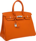 Luxury Accessories:Bags, Hermes 35cm Orange H Epsom Leather Birkin Bag with PalladiumHardware. ...