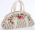 Luxury Accessories:Bags, Christian Dior Monogram Canvas Top Handle Bag with FloralEmbroidery. ...