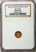 California Fractional Gold: , 1874/3 50C Indian Round 50 Cents, BG-1052, High R.4, MS64 ProoflikeNGC. NGC Census: (3/4). ...