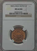 1864 2C Large Motto MS64 Red NGC. NGC Census: (110/165). PCGS Population (293/278). Mintage: 19,847,500. Numismedia Wsl...