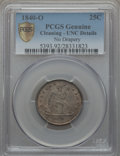 Seated Quarters, 1840-O 25C No Drapery -- Cleaning -- PCGS Genuine. Unc. Details....