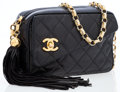 Luxury Accessories:Bags, Chanel Black Quilted Lambskin Leather Camera Bag with Tassle andGold Hardware. ...
