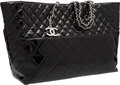 Luxury Accessories:Bags, Chanel Black Quilted Patent Leather Tote Bag with Silver Hardware....