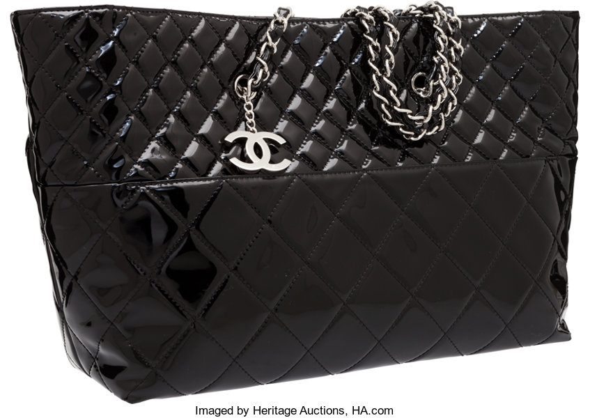 Luxury Accessories Bags Chanel Black Quilted Patent Leather Tote Bag With Silver Hardware