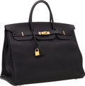 Luxury Accessories:Bags, Hermes 40cm Indigo Fjord Leather Birkin Bag with Gold Hardware. ...