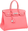 Luxury Accessories:Bags, Hermes 35cm Rose Lipstick Togo Leather Birkin Bag with PalladiumHardware. ...