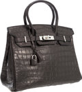 Luxury Accessories:Bags, Hermes 30cm Matte Black Nilo Crocodile Birkin Bag with PalladiumHardware. ...