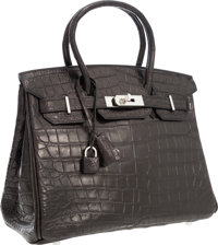 Hermes 30cm Matte Black Nilo Crocodile Birkin Bag with Palladium Hardware