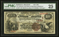 National Bank Notes:Maryland, Baltimore, MD - $10 1882 Brown Back Fr. 487 The National Union Bankof Maryland Ch. # (E)1489. ...