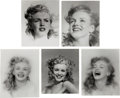 Movie/TV Memorabilia:Photos, A Marilyn Monroe Group of 'Close-Up' Black and White Photographs byAndre de Dienes, 1945, 1980s.... (Total: 5 Items)