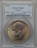 Eisenhower Dollars: , 1976 $1 Type Two MS66 PCGS. PCGS Population (442/9). NGC Census: (315/3). Mintage: 113,318,000. Numismedia Wsl. Price for p...