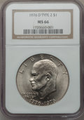 Eisenhower Dollars: , 1976-D $1 Type Two MS66 NGC. NGC Census: (451/12). PCGS Population (813/23). Mintage: 82,179,568. Numismedia Wsl. Price for...