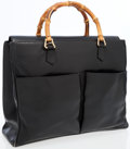 Luxury Accessories:Bags, Gucci Black Leather Tote Bag with Bamboo Handles. ...
