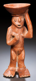 Pre-Columbian:Ceramics, A COLIMA STANDING FEMALE CARRYING A BOWL. c. 200 BC - 200 AD...