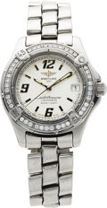 Estate Jewelry:Watches, Breitling Lady's Diamond Stainless Steel Colt Oceane Wristwatch....