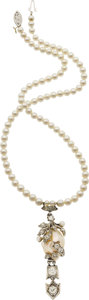 Estate Jewelry:Necklaces, Antique Cultured Pearl, Diamond, Platinum-Topped Gold Necklace. ...